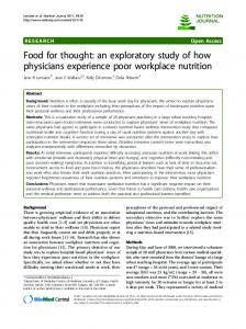Food for thought: an exploratory study of how physicians experience ...