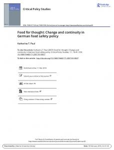 Food for thought: Change and continuity in German ...