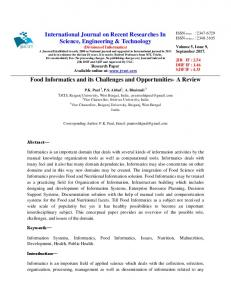 Food Informatics and its Challenges and Opportunities
