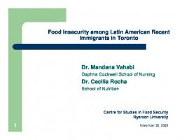 Food Insecurity among Latin American Recent Immigrants in Toronto ...