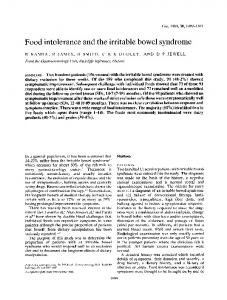 Food intolerance and the irritable bowel syndrome - Europe PMC