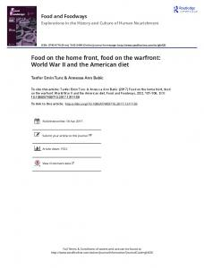 Food on the home front, food on the warfront: World
