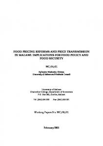 food pricing reforms and price transmission in malawi - GEOCITIES.ws
