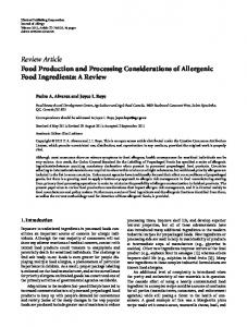 Food Production and Processing Considerations of Allergenic Food ...
