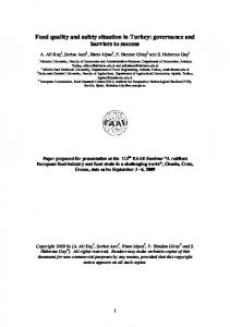 Food quality and safety situation in Turkey: governance and ... - Core