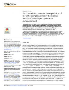 Food restriction increase the expression of mTORC1 complex ... - PLOS
