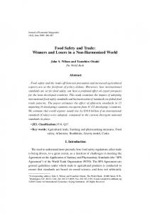 Food Safety and Trade - Journal of Economic Integration