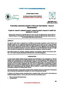 Food safety constraints analysis in Moroccan food industry - focus on ...