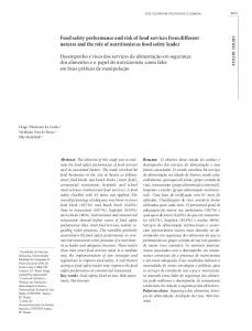 Food safety performance and risk of food services from ... - Scielo.br
