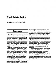 Food Safety Policy - Agricultural and Food Policy Center
