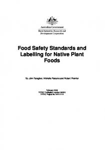 Food Safety Standards and Labelling for Native Plant ... - Publications