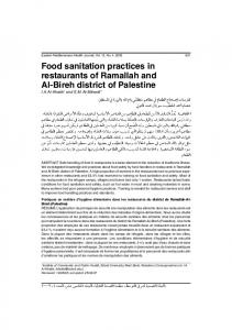 Food sanitation practices in restaurants of Ramallah and Al-Bireh ...