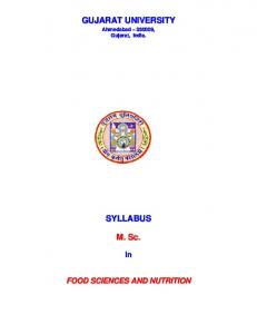 Food Science and Nutrition - Gujarat University