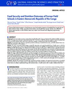 Food Security and Nutrition Outcomes of Farmer