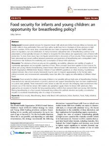 Food security for infants and young children: an opportunity for ...