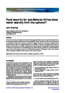 Food security for sub-Saharan Africa - AgEcon Search