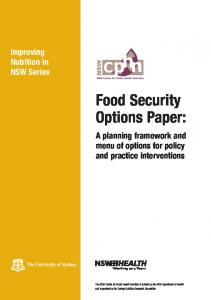 Food Security Options Paper: A planning framework and menu of ...