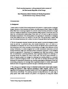Food security responses to the protracted crisis context of the ...