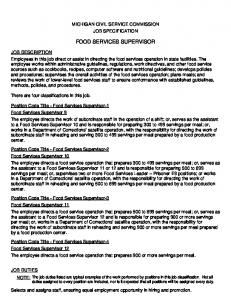 FOOD SERVICES SUPERVISOR