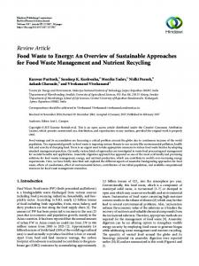 Food Waste to Energy: An Overview of Sustainable Approaches for ...