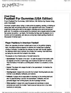 Football For Dummies (USA Edition)