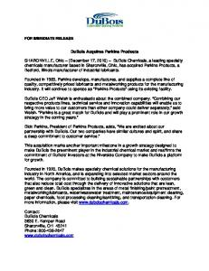 FOR IMMEDIATE RELEASE - Dubois Chemicals