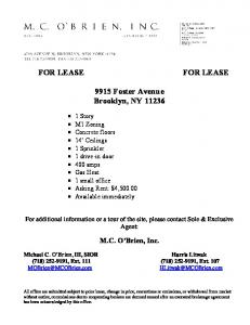 FOR LEASE FOR LEASE 9915 Foster Avenue Brooklyn, NY 11236