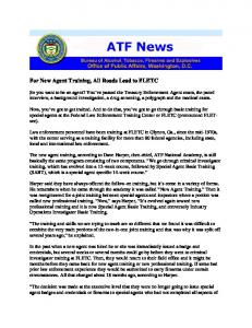 For New Agent Training, All Roads Lead to FLETC - ATF