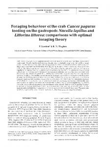 Foraging behaviour of the crab Cancerpagurus feeding on the ...
