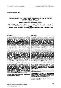 FORAMINA OF THE POSTERIOR CRANIAL BASE: A STUDY OF ...
