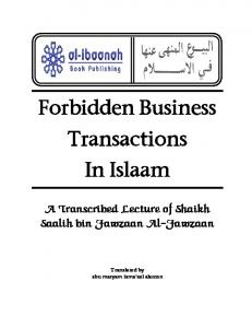 Forbidden Business Transactions in Islaam.pdf - Sincere Hearts