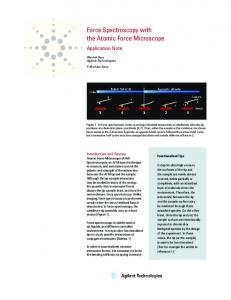 Force Spectroscopy with the Atomic Force Microscope - Agilent