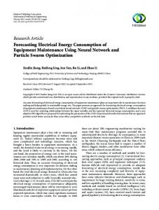 Forecasting Electrical Energy Consumption of Equipment