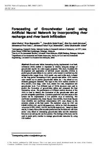 Forecasting of Groundwater Level using Artificial Neural Network by ...