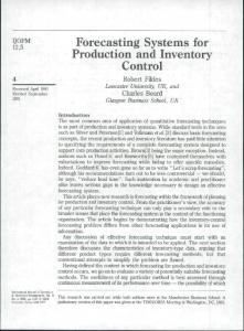 Forecasting Systems for Production and Inventory ...