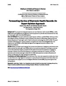 Forecasting the Use of Electronic Health Records: An ... - CMS.gov