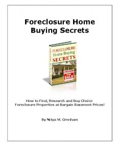 Foreclosure Home Buying Secrets