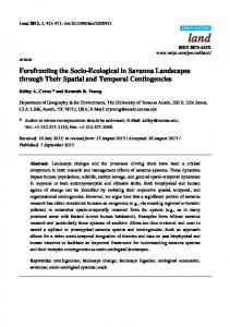 Forefronting the Socio-Ecological in Savanna Landscapes ... - MDPI