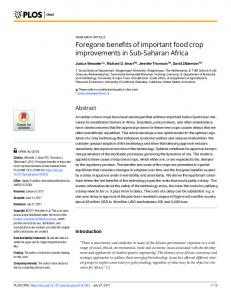 Foregone benefits of important food crop improvements in Sub ... - PLOS