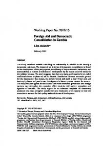 Foreign Aid and Democratic Consolidation in Zambia