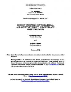foreign exchange controls, fiscal and monetary policy, and the black ...