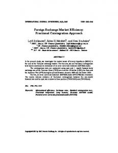 Foreign Exchange Market Efficiency: Fractional ... - SSRN papers