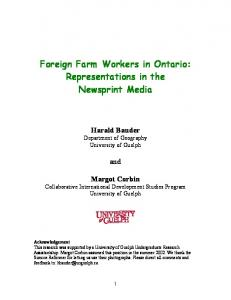 Foreign Farm Workers in Ontario: Representations in the Newsprint