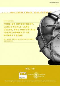 FOREIGN INVESTMENT, LARGE-SCALE LAND DEALS, AND