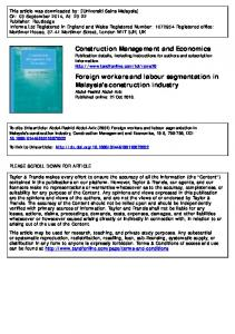 Foreign workers and labour segmentation in