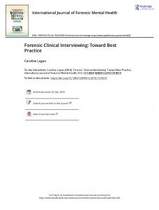 Forensic Clinical Interviewing: Toward Best Practice