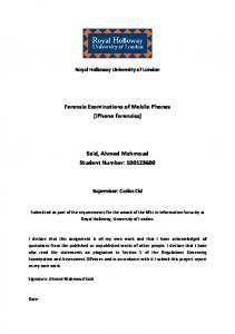 Forensic Examinations of Mobile Phones (iPhone ...