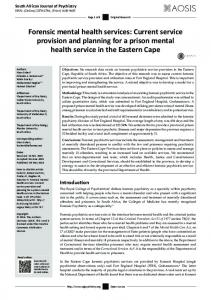 Forensic mental health services: Current service ... - (SciELO) SA