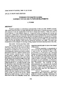 forensic psychiatry in india current status and