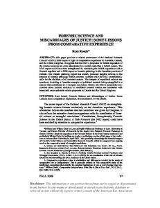forensic science and miscarriages of justice: some ... - SSRN papers
